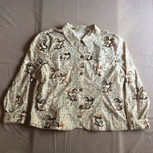Bamboo Traders Jacket Blazer Size XL Brown Tribal Print Hieroglyphs